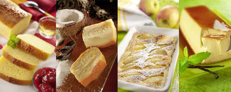 Un gâteau au yaourt, un gâteau à la noix de coco, un clafoutis aux pommes et un entremet au caramel réalisés en cuisson basse température.