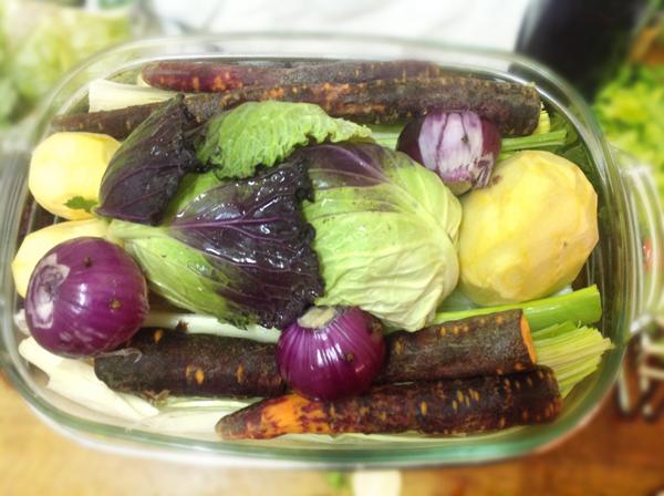 Les légumes, avant cuisson vapeur.