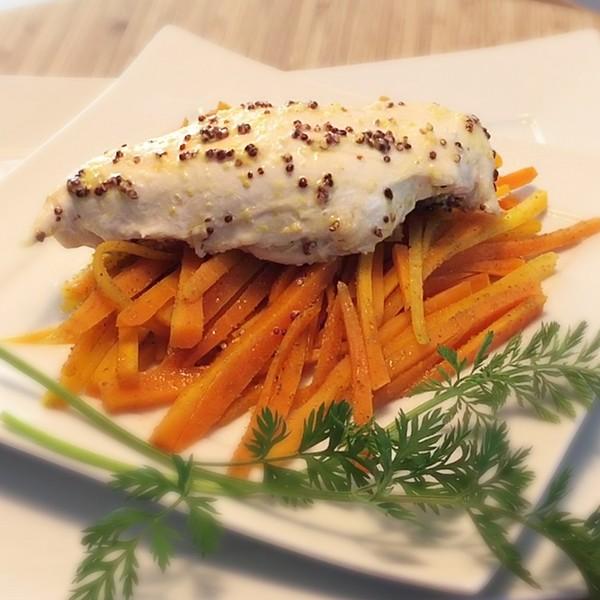 Recette blancs de poulet la moutarde carottes au cumin - Cuisiner des blancs de poulet moelleux ...