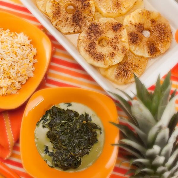 Plat complet riz basmati, épinard coco et ananas rôti