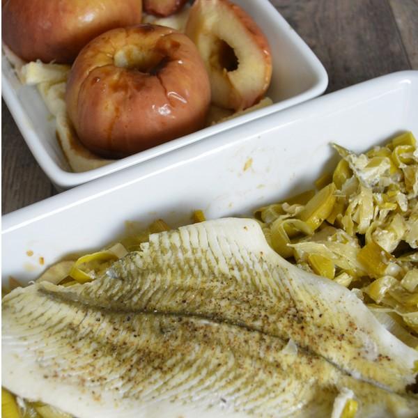 Recette de plat combiné : poisson, poireaux et pommes au four