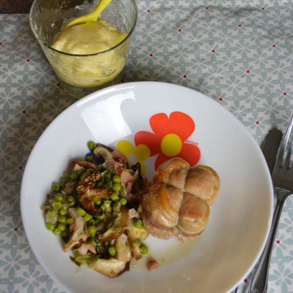 Plat complet : paupiettes, légumes et gâteau de semoule