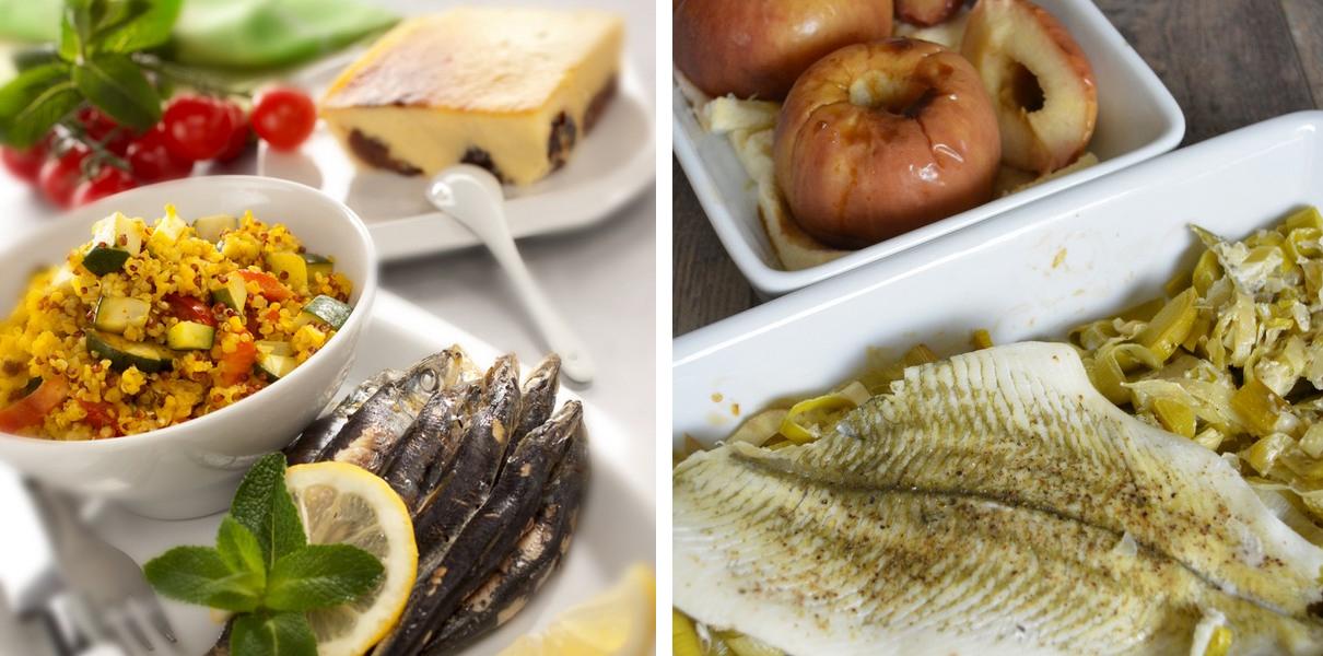 Plat combiné 1 : sardines, quinoa et petits légumes aux épices / far breton // Plat combiné 2 :filet de poisson et poireaux à la crème / pommes au four.