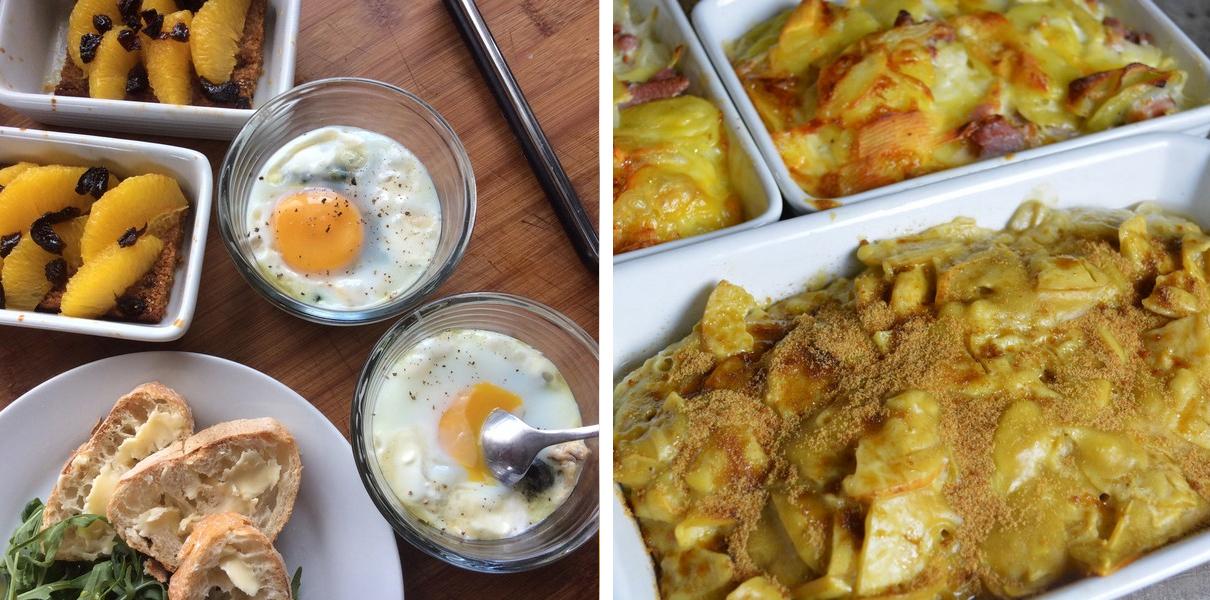 Plat combiné 1 : oeufs cocotte aux épinards et tartelettes express à l'orange // Plat combiné 2 : Tartiflette et cake flan aux pommes