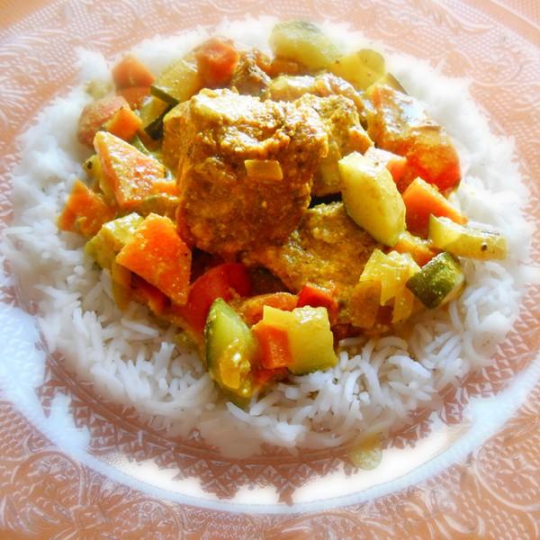 Le curry de dinde à la cuisson vapeur douce