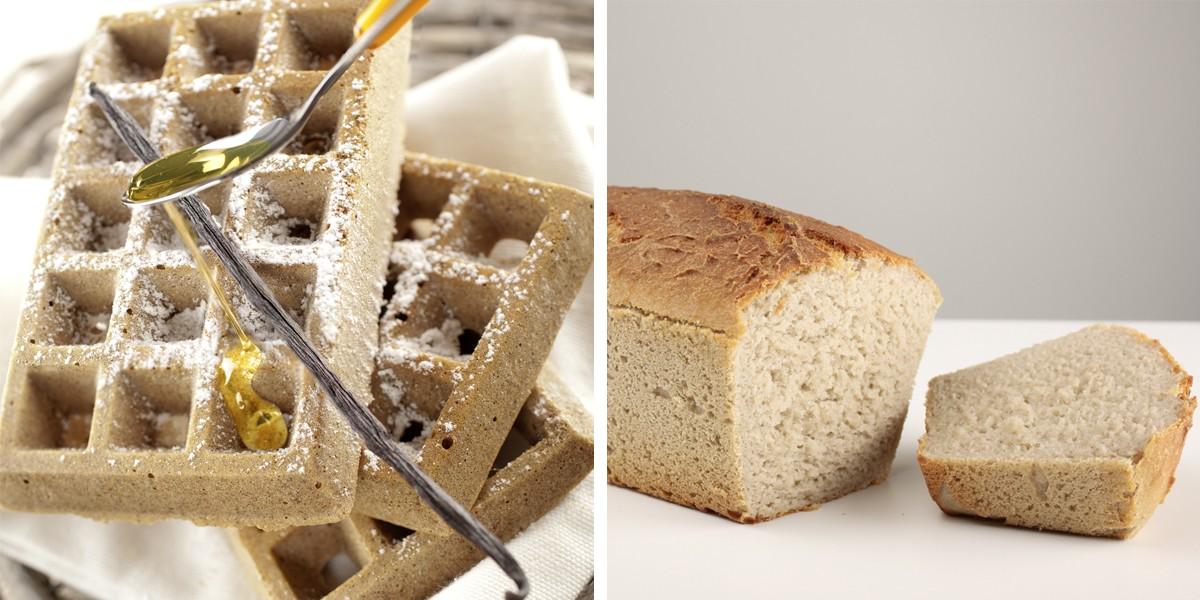 Gaufres à la farine de châtaigne et pain sans gluten cuits à la vapeur douce.