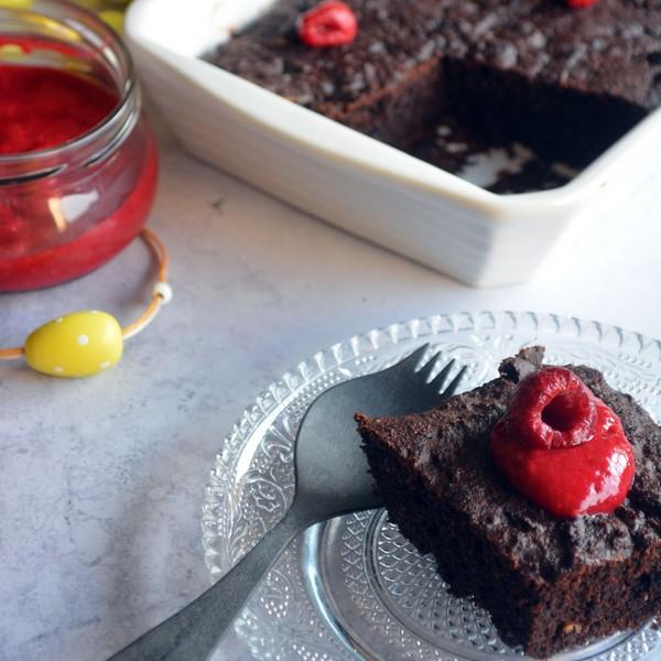 gâteau sans gluten chocolat framboises